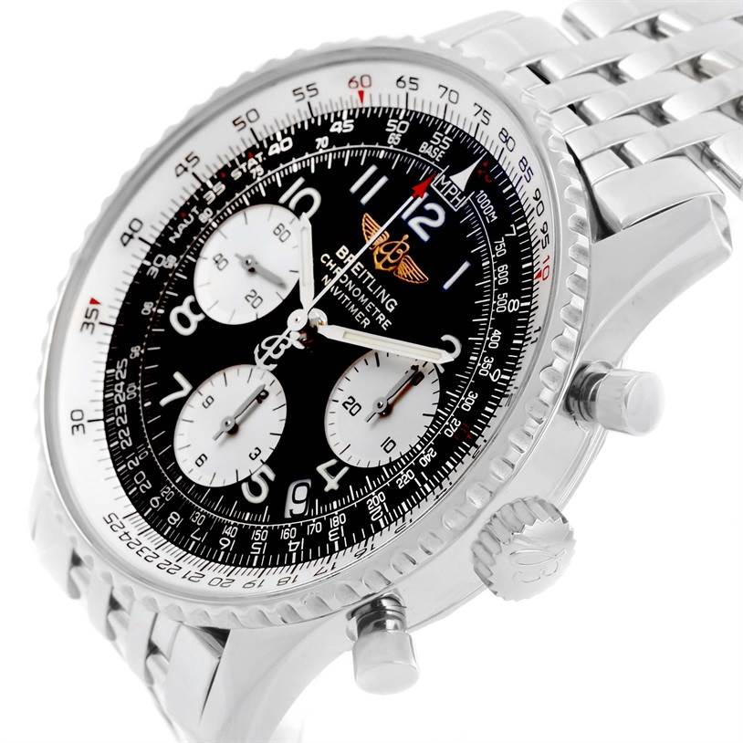Breitling Navitimer Chronograph Black Dial Steel Mens Watch A23322 SwissWatchExpo