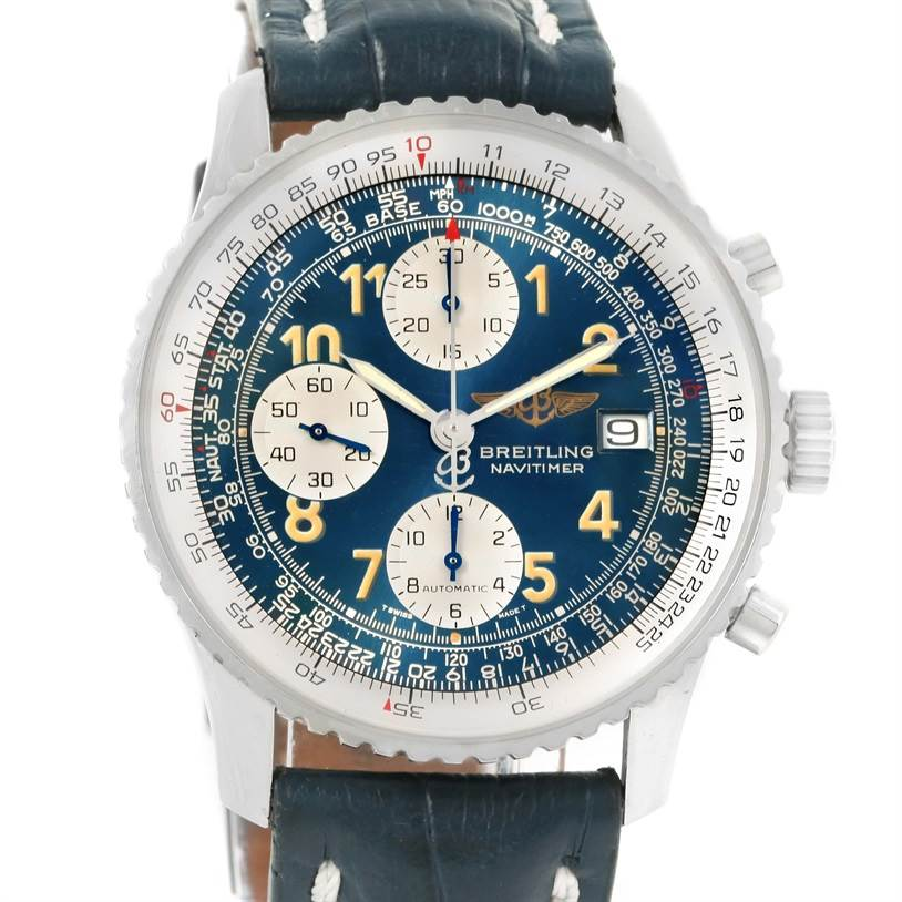 12589 Breitling Navitimer II Blue Dial Automatic Steel Watch A13022 SwissWatchExpo