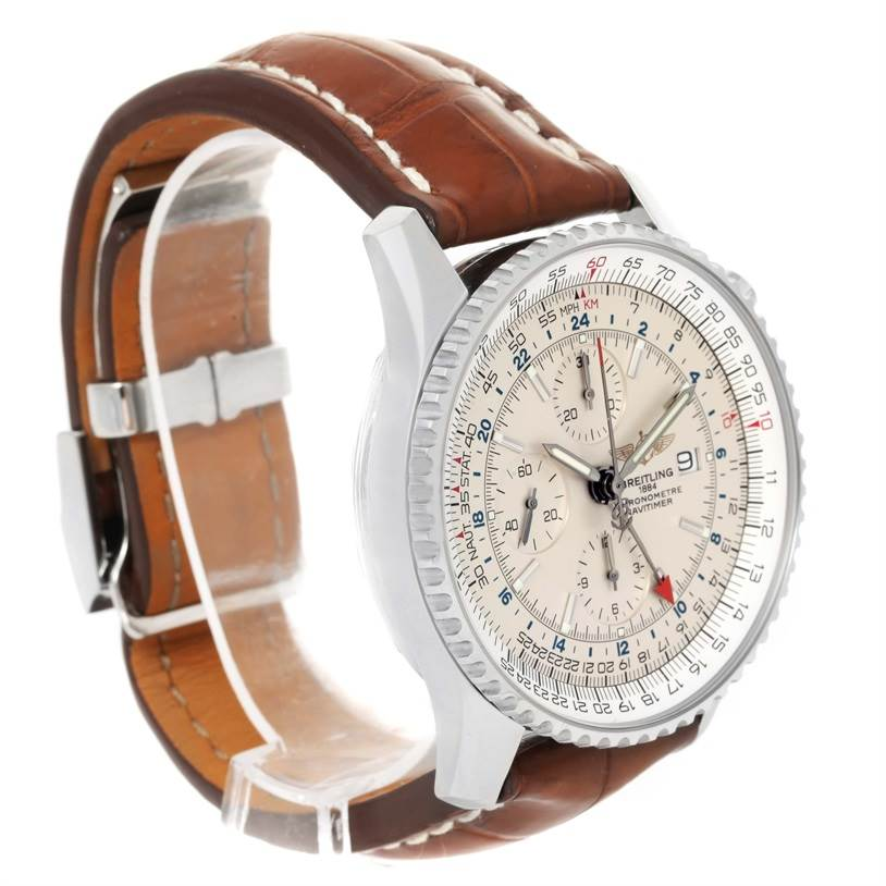 11726 Breitling Navitimer World Chronograph GMT Brown Strap Watch A24322 SwissWatchExpo