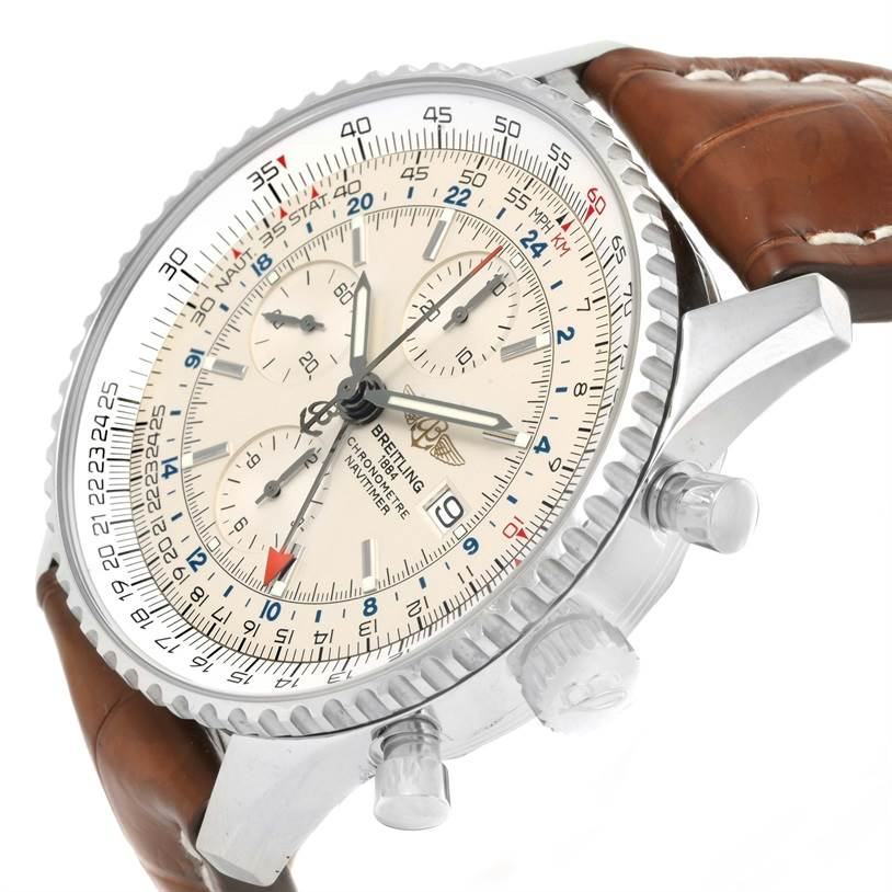 Breitling Navitimer World Chronograph GMT Brown Strap Watch A24322 SwissWatchExpo