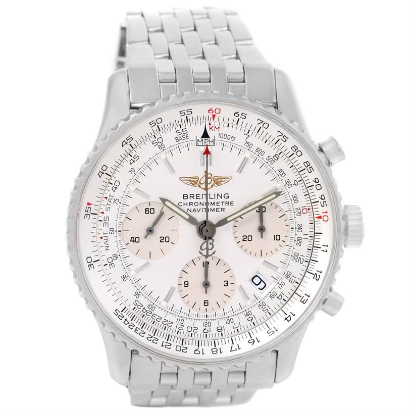 12606 Breitling Navitimer Chronograph Silver Dial Steel Watch A23322 SwissWatchExpo