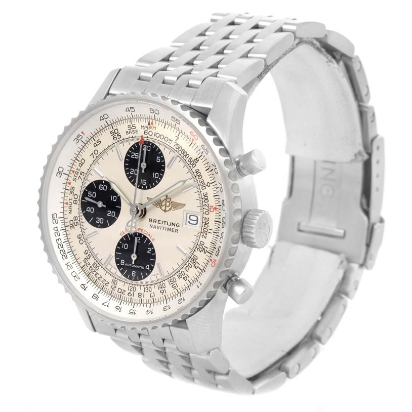 12825 Breitling Navitimer Fighter Chronograph Steel Watch A13330 Box Papers SwissWatchExpo