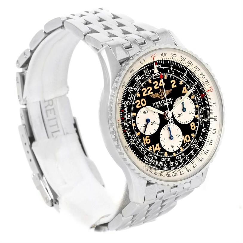 11590 Breitling Navitimer Cosmonaute Black Dial Chronograph Watch A12022 SwissWatchExpo