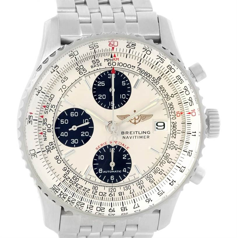 12826 Breitling Navitimer Fighter Chronograph Silver Dial Steel Watch A13330 SwissWatchExpo