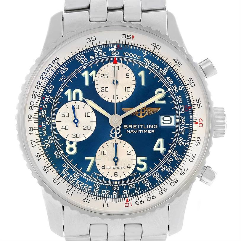12893 Breitling Navitimer II Steel Blue Dial Mens Watch A13322 Box Papers SwissWatchExpo