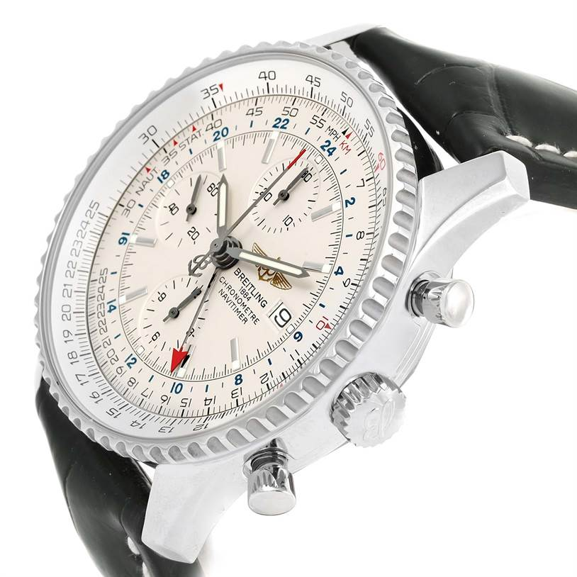 13002 Breitling Navitimer World Chronograph GMT Black Strap Watch A24322 SwissWatchExpo