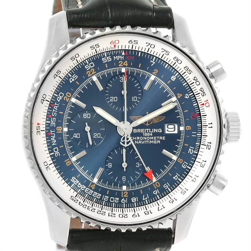 12735 Breitling Navitimer World GMT Steel Blue Dial Black Strap Watch A24322 SwissWatchExpo