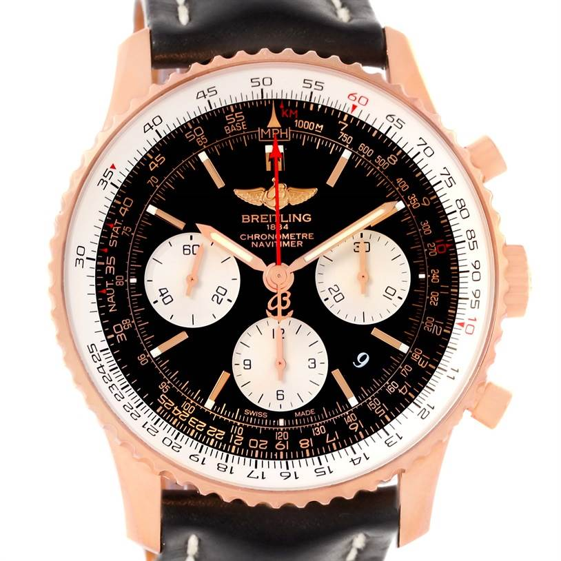 13126P Breitling Navitimer 01 18K Rose Gold Black Dial Watch RB0120 SwissWatchExpo