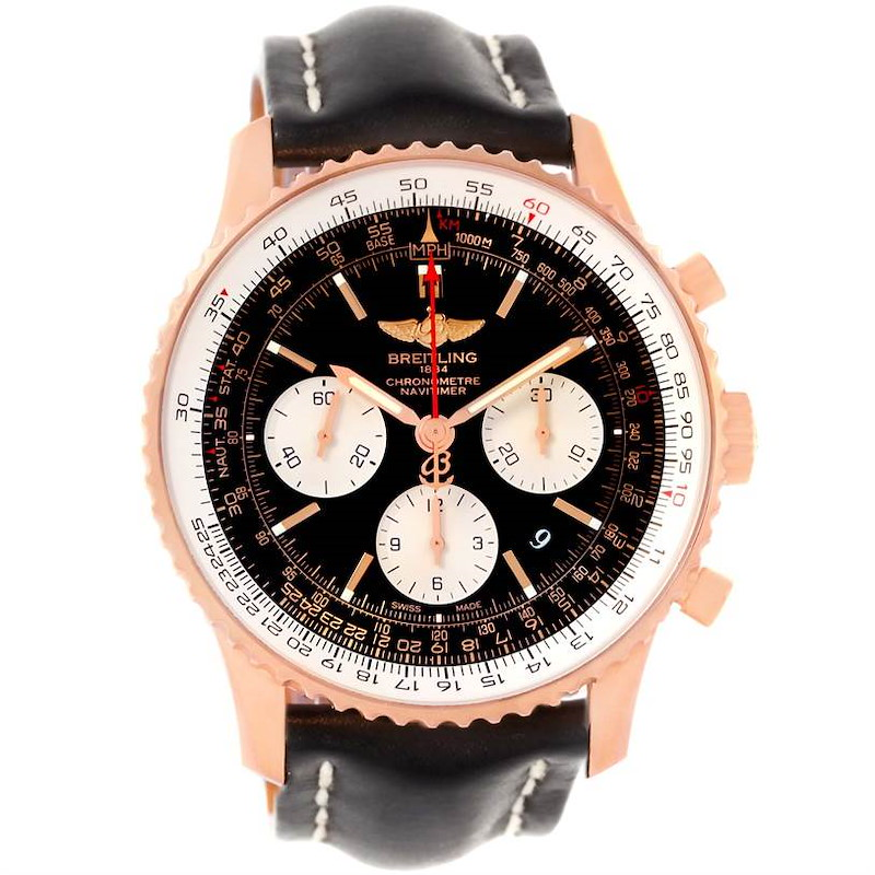 Breitling Navitimer 01 18K Rose Gold Black Dial Watch RB0120 SwissWatchExpo