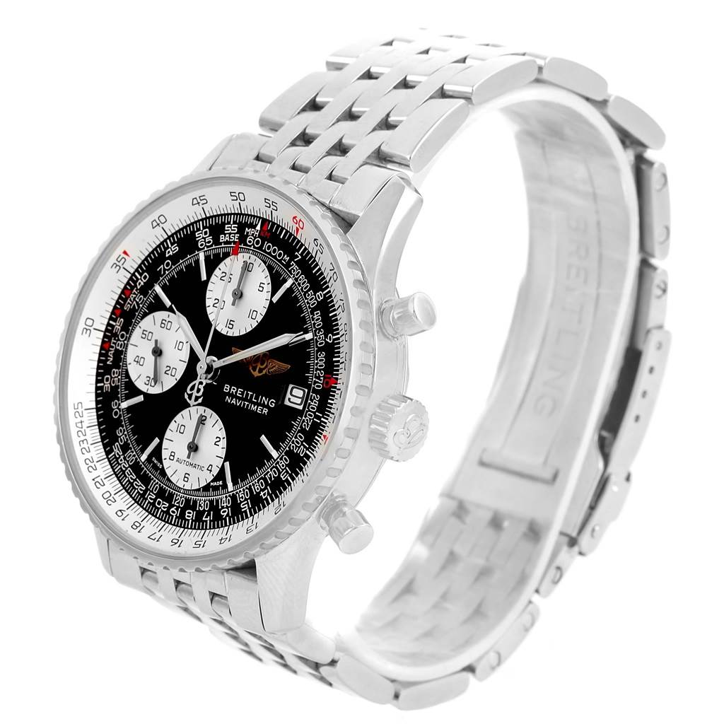 13381 Breitling Navitimer II Stainless Steel Black Dial Mens Watch A13322 SwissWatchExpo