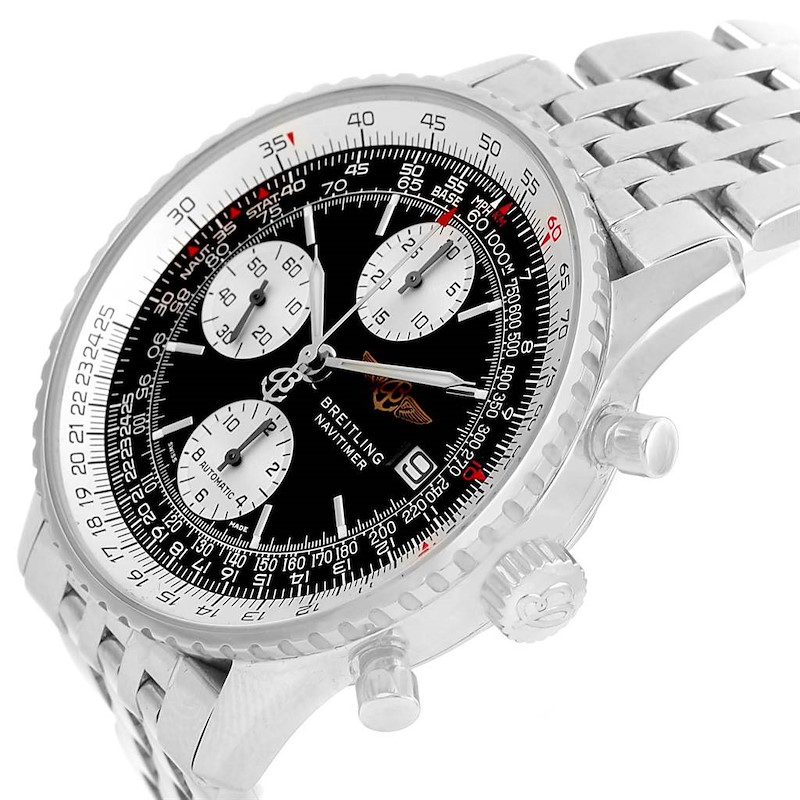Breitling Navitimer II Stainless Steel Black Dial Mens Watch A13322 SwissWatchExpo