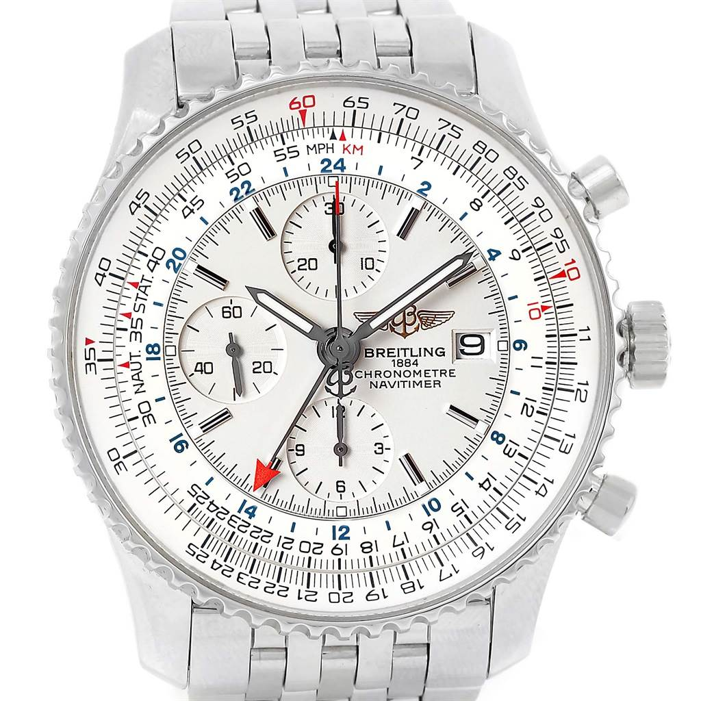 13415 Breitling Navitimer World Silver Dial Steel Mens Watch A24322 SwissWatchExpo