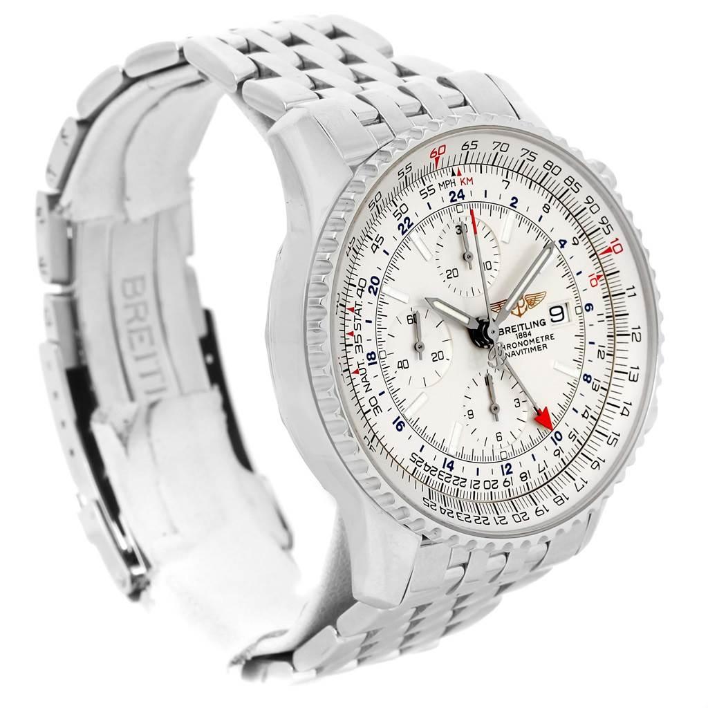 13415 Breitling Navitimer World Silver Dial Steel Mens Watch A24322 SwissWatchExpo