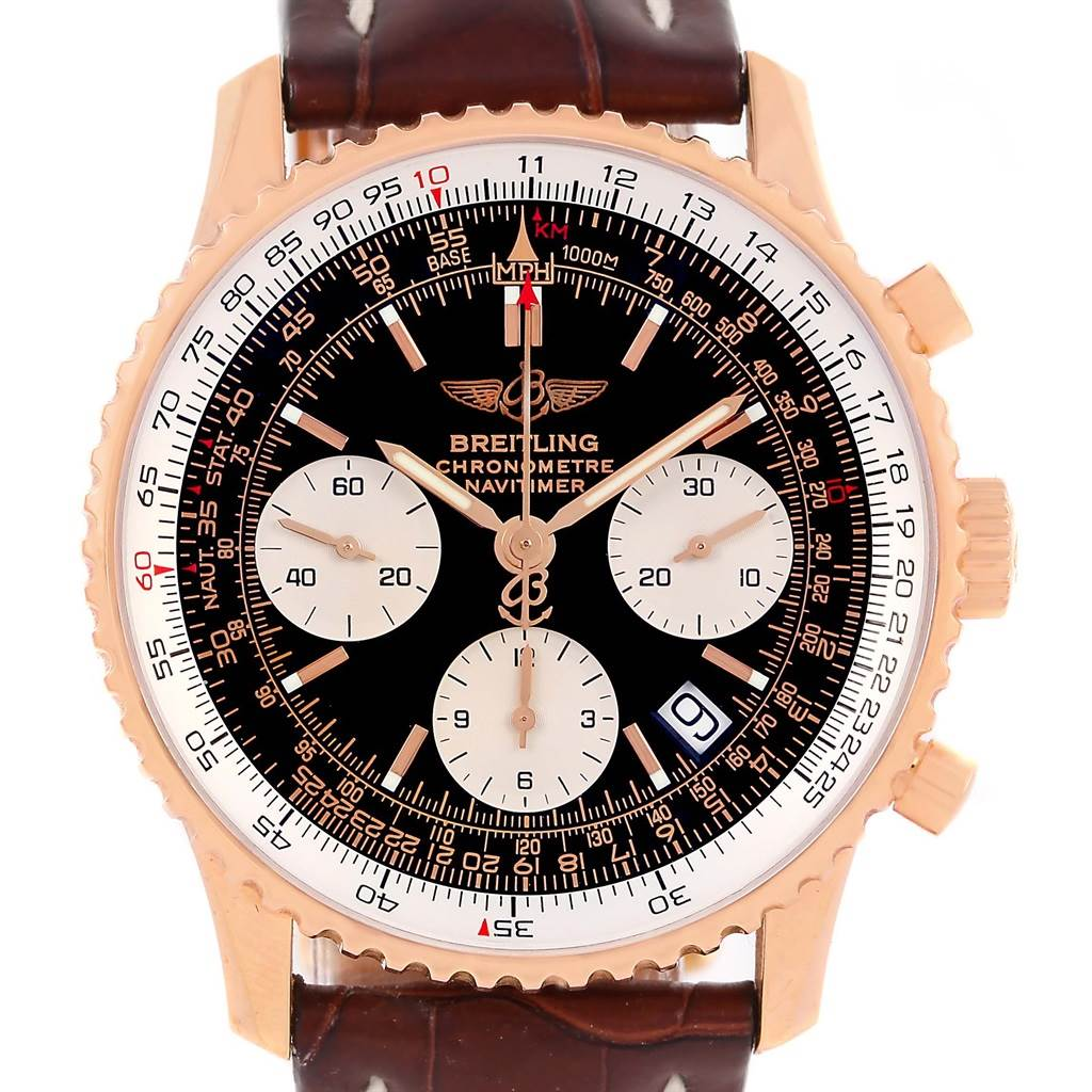 13672P Breitling Navitimer 18K Rose Gold Limited Edition Mens Watch R23322 SwissWatchExpo