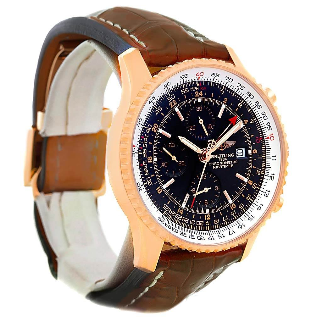 13674P Breitling Navitimer World 18K Rose Gold Limited Edition Watch R24322 SwissWatchExpo
