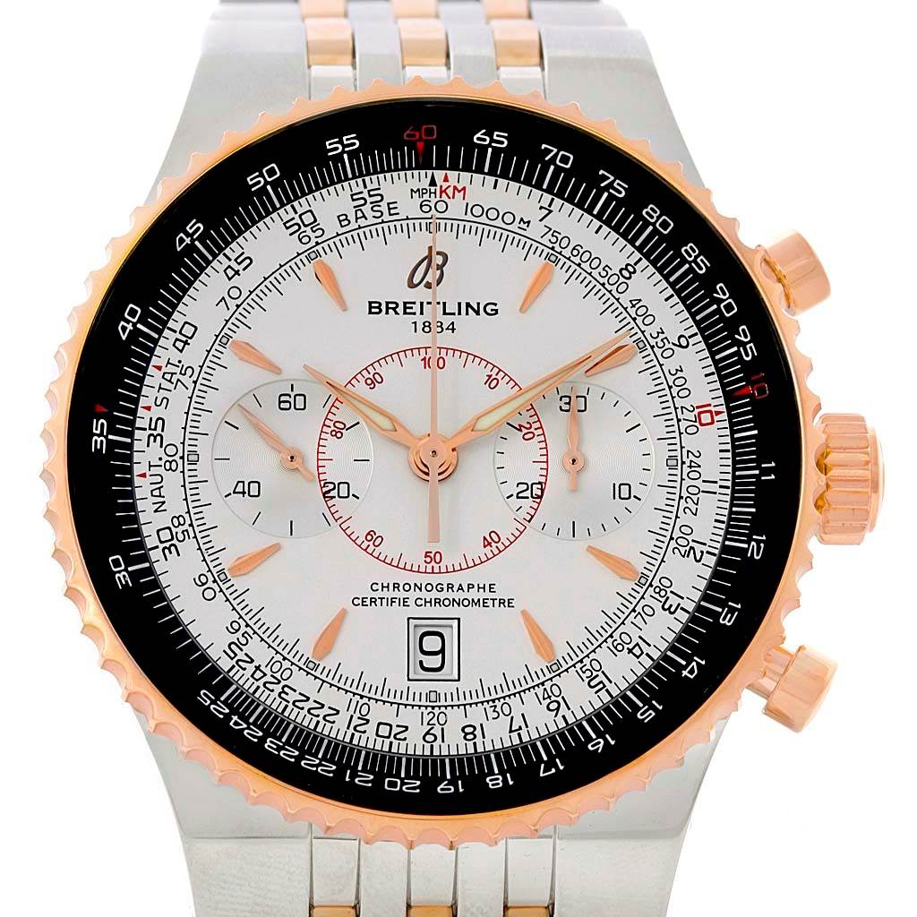 13679 Breitling Montbrillant Legende Steel Rose Gold Silver Dial Watch C23340 SwissWatchExpo