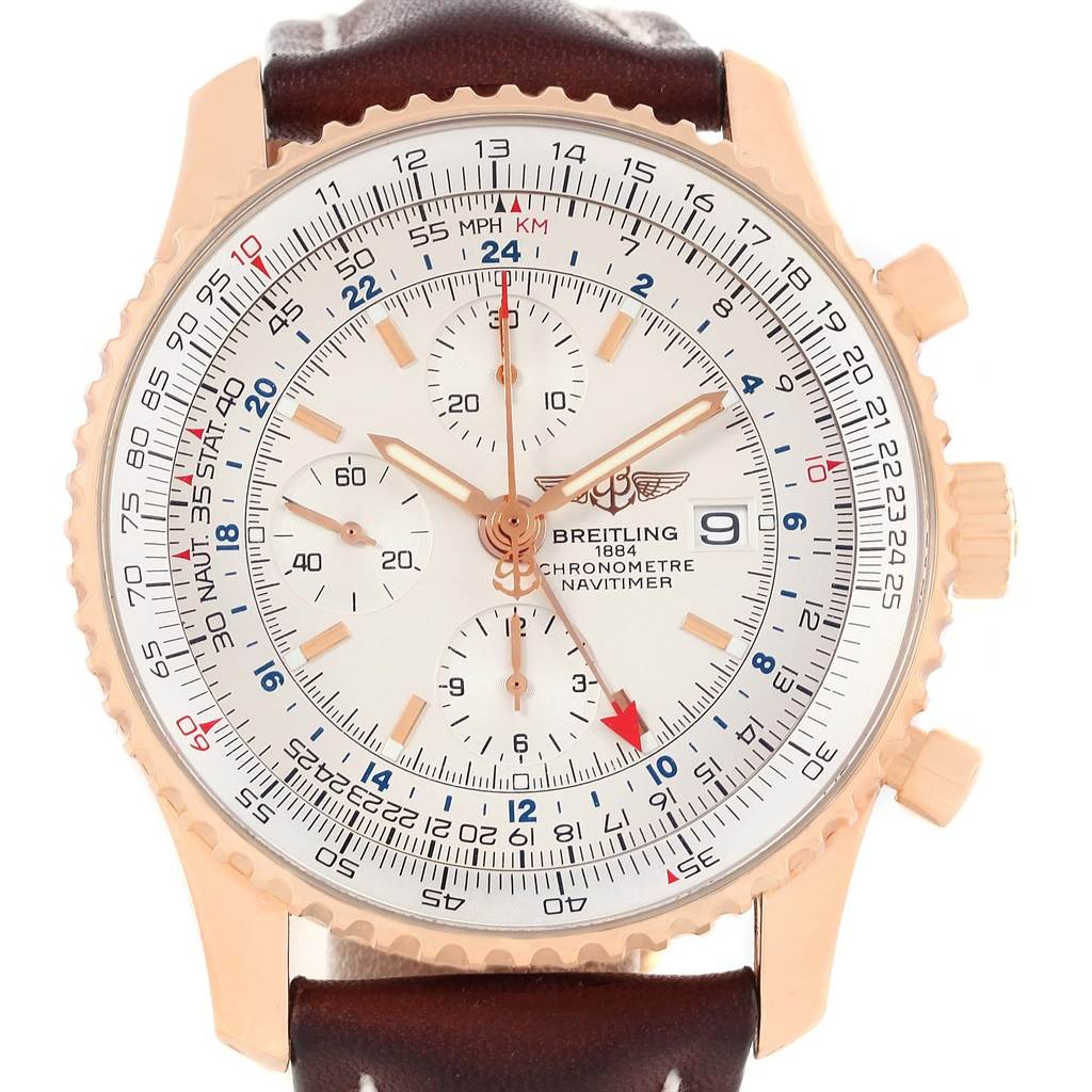 13673P Breitling Navitimer World Rose Gold Limited Edition Mens Watch R24322 SwissWatchExpo