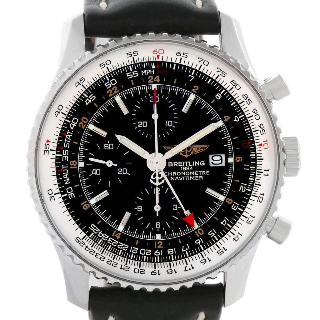 11574 Breitling Navitimer World GMT Steel Black Dial Watch A24322 Year 2013 SwissWatchExpo