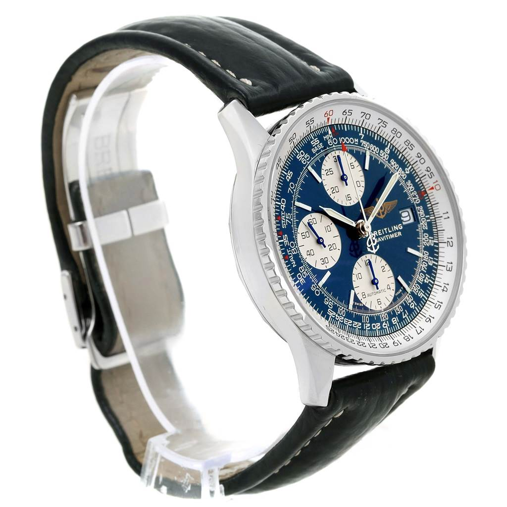 14161 Breitling Navitimer II Automatic Steel Blue Dial Mens Watch A13322 SwissWatchExpo