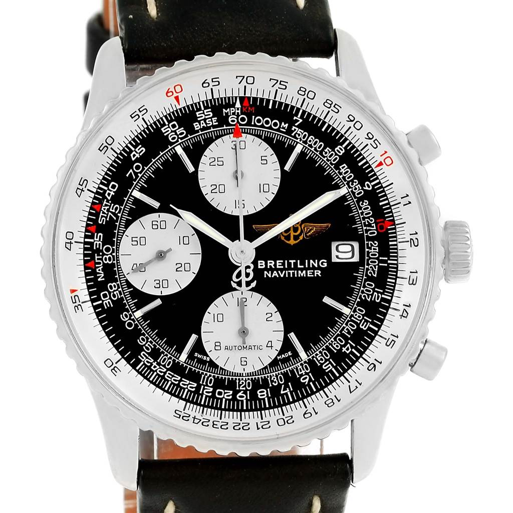 14353 Breitling Navitimer II Automatic Steel Black Dial Mens Watch A13322 SwissWatchExpo