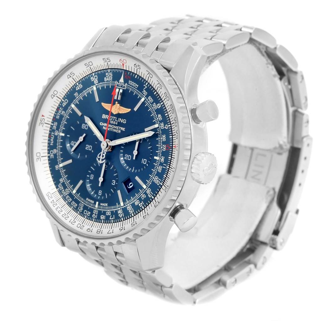 Breitling Navitimer 01 46mm Aurora Blue Dial Mens Watch AB012721 SwissWatchExpo