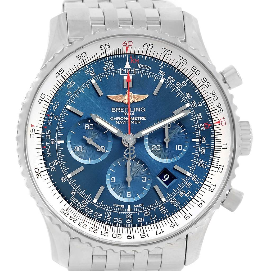 14384 Breitling Navitimer 01 46mm Aurora Blue Dial Mens Watch AB012721 SwissWatchExpo