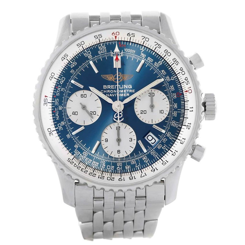 Breitling Navitimer Blue Dial Chronograph Steel Mens Watch A23322 SwissWatchExpo