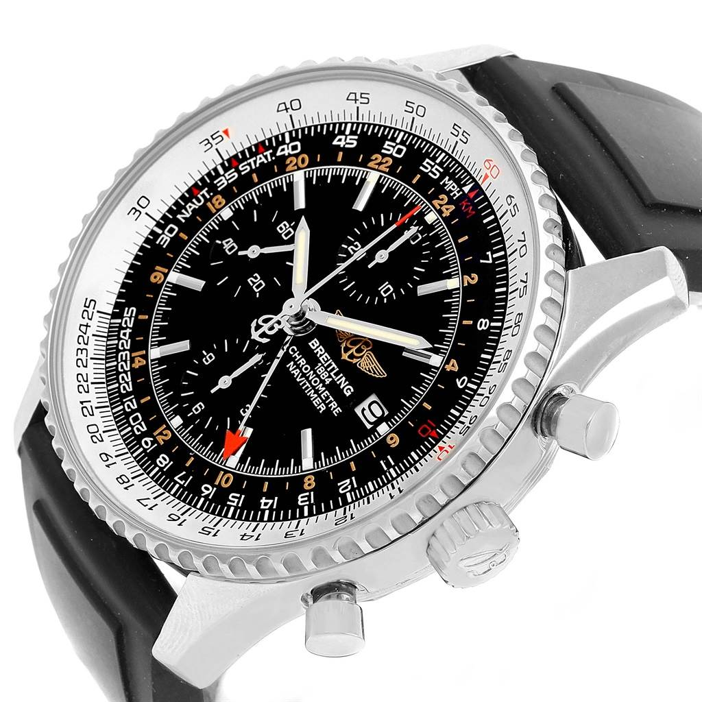 Breitling Navitimer World GMT Steel Rubber Strap Mens Watch A24322 SwissWatchExpo