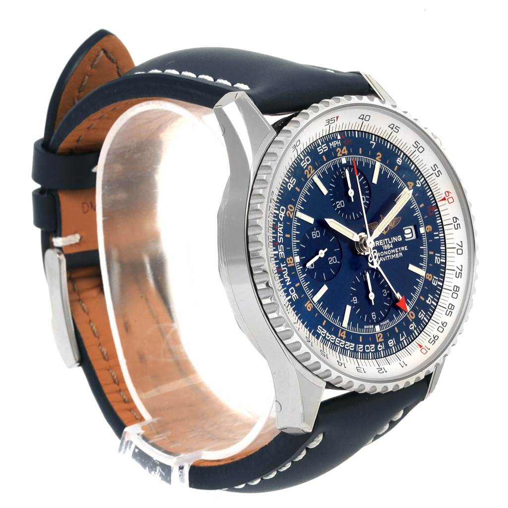 14552 Breitling Navitimer World GMT Steel Blue Dial Watch A24322 Unworn SwissWatchExpo