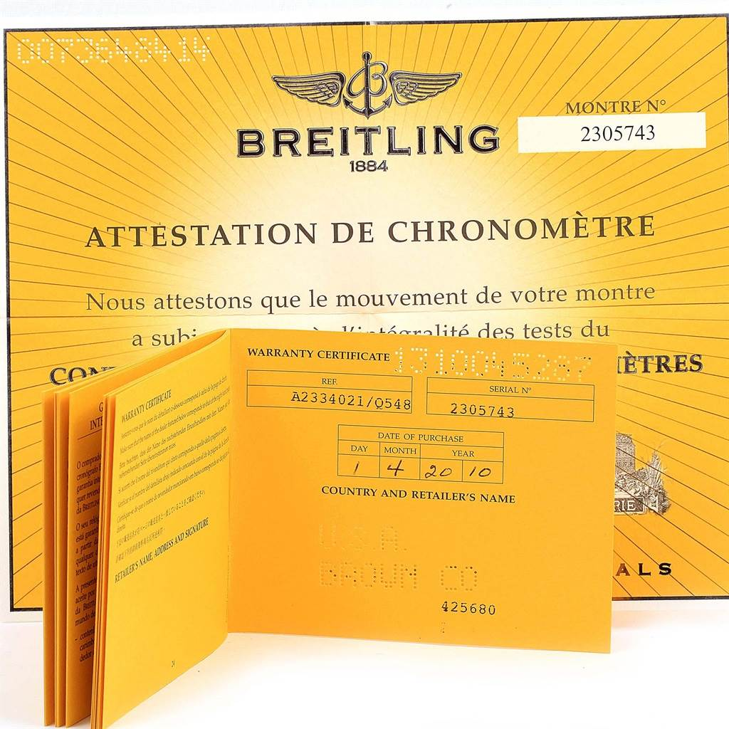 14787 Breitling Montbrillant Legende Bronze Dial Mens Watch A23340 Box Papers SwissWatchExpo