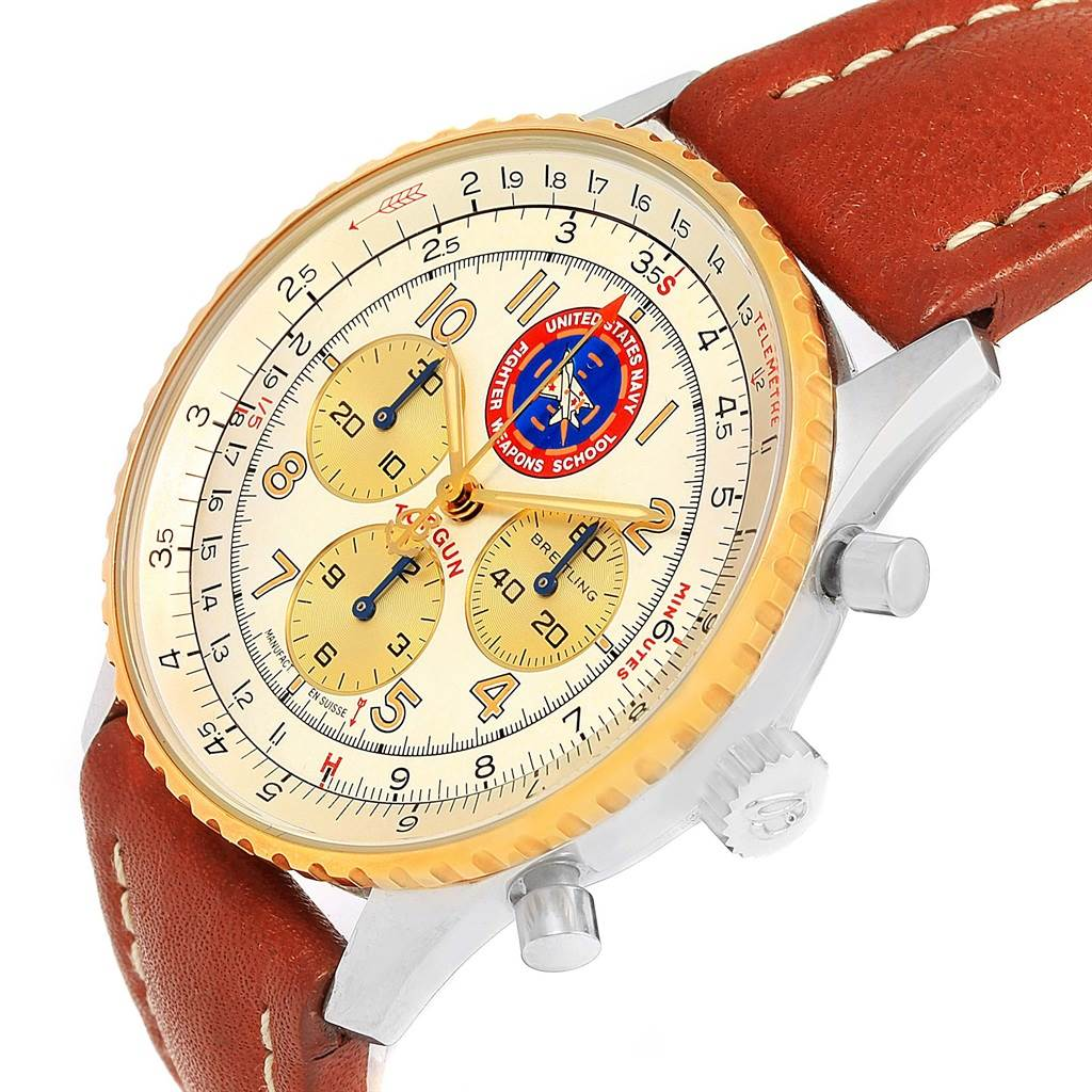14782 Breitling Navitimer 92 Top Gun Limited Edition Steel Gold Watch D30022 SwissWatchExpo
