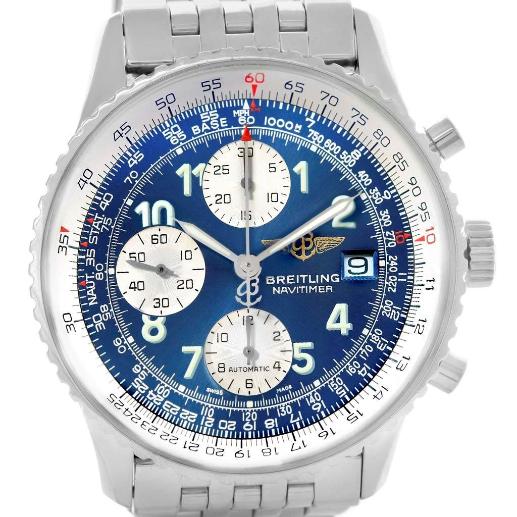 14868 Breitling Navitimer II Stainless Steel Blue Dial Mens Watch A13322 SwissWatchExpo
