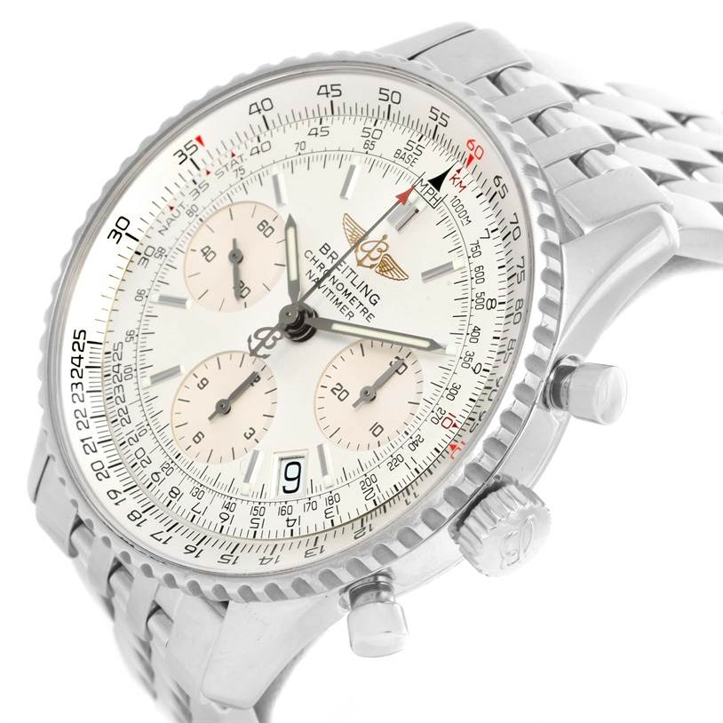 13873 Breitling Navitimer Chronograph Silver Dial Steel Watch A23322 SwissWatchExpo