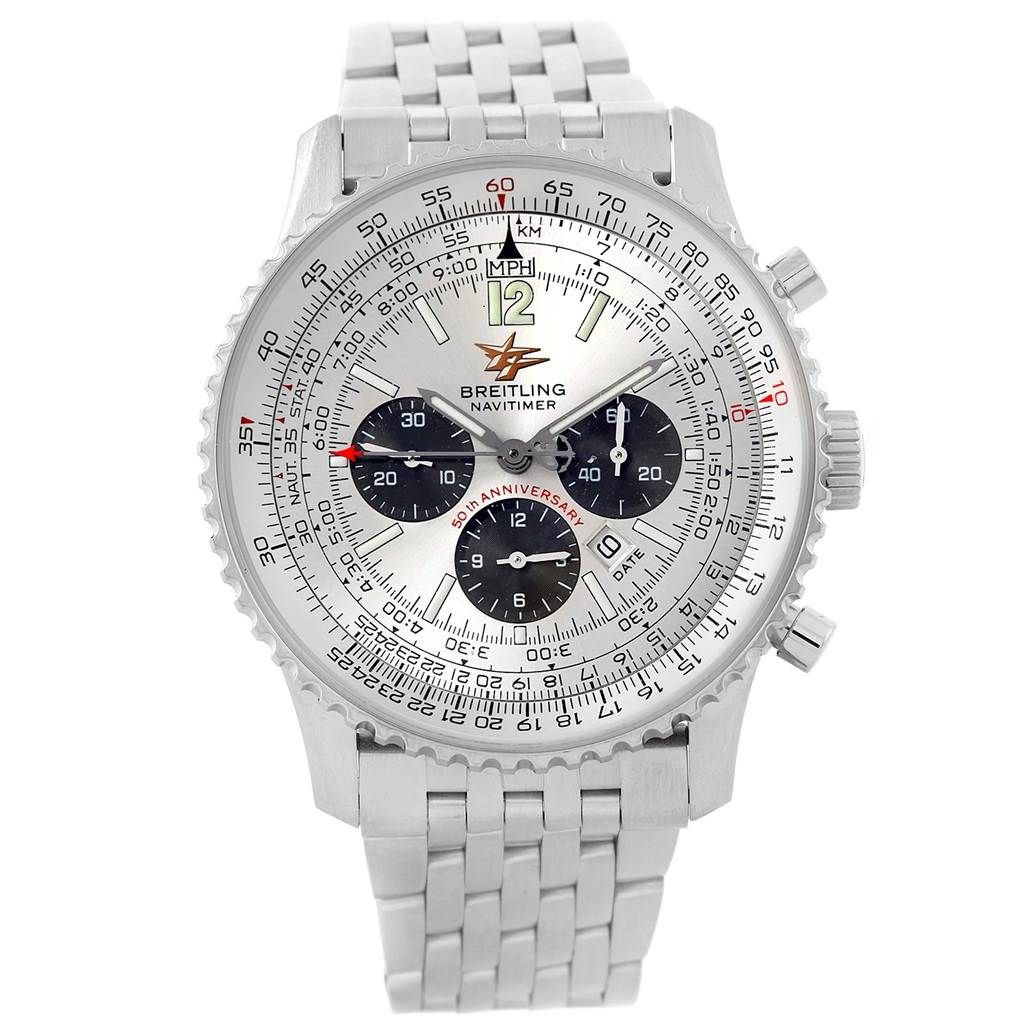 15074 Breitling Navitimer 50th Anniversary Silver Dial Mens Watch A41322 SwissWatchExpo