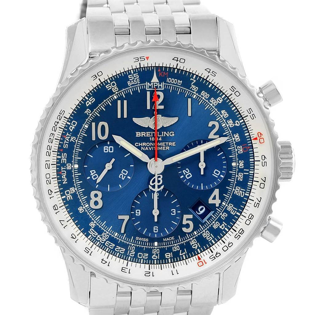 Breitling Navitimer 01 Blue Dial Limited Edition Watch AB0121 Unworn SwissWatchExpo