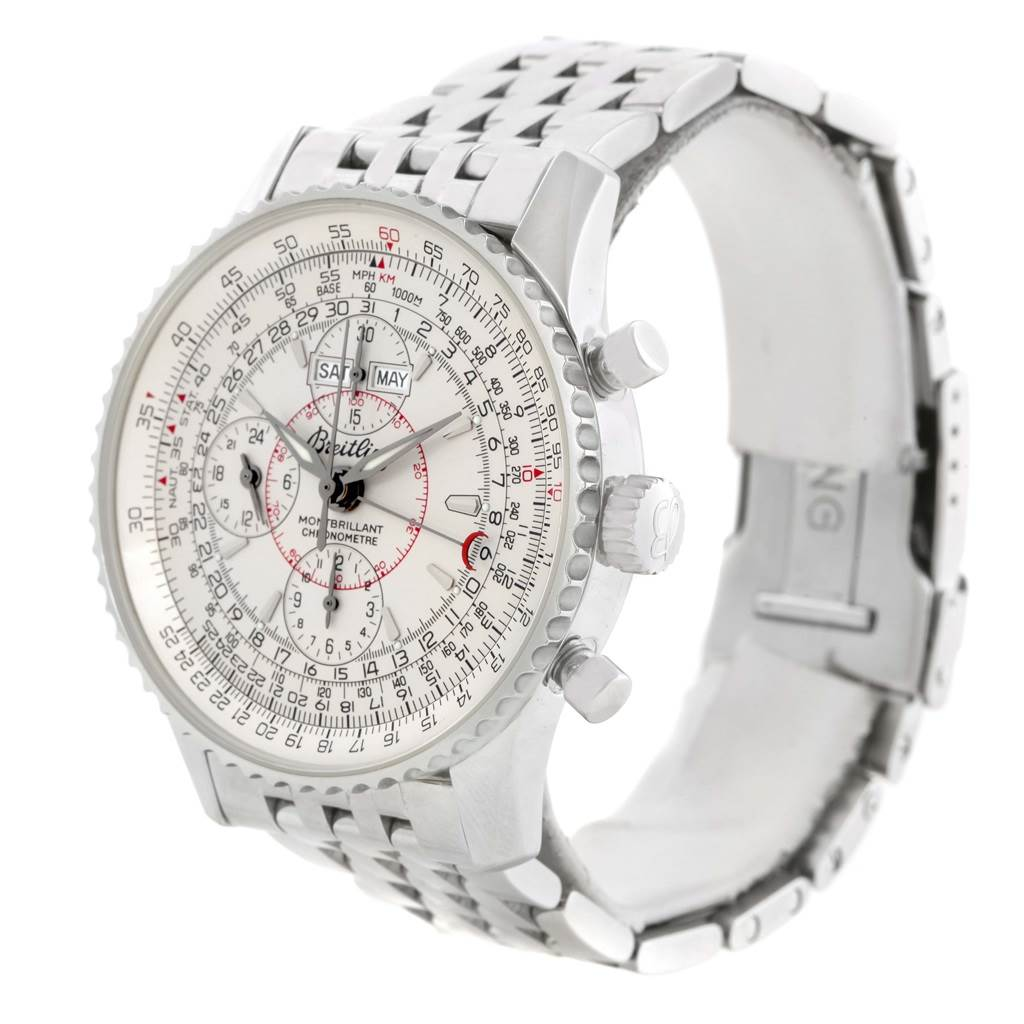 15011 Breitling Navitimer Montbrillant Datora Silver Dial Watch A21330 SwissWatchExpo