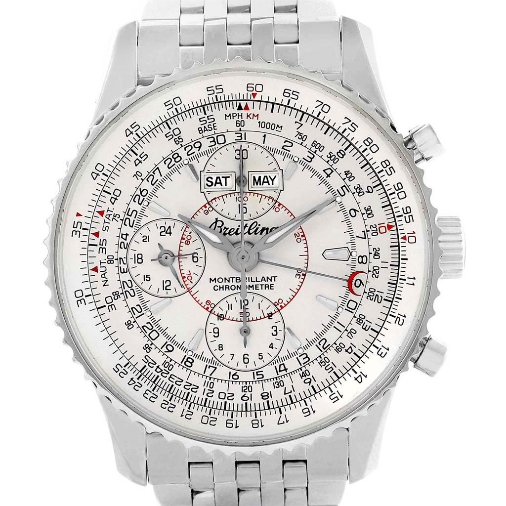 Breitling Navitimer Montbrillant Datora Silver Dial Mens Watch A21330 SwissWatchExpo