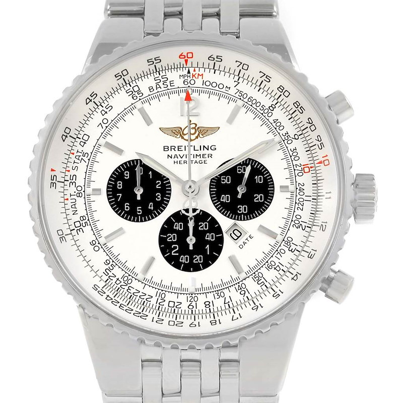 Breitling Navitimer Heritage Silver Dial Steel Mens Watch A35350 SwissWatchExpo