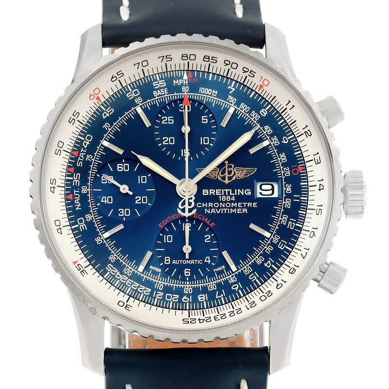 Breitling Navitimer Heritage Steel Blue Dial Mens Watch A13324 Box Card SwissWatchExpo
