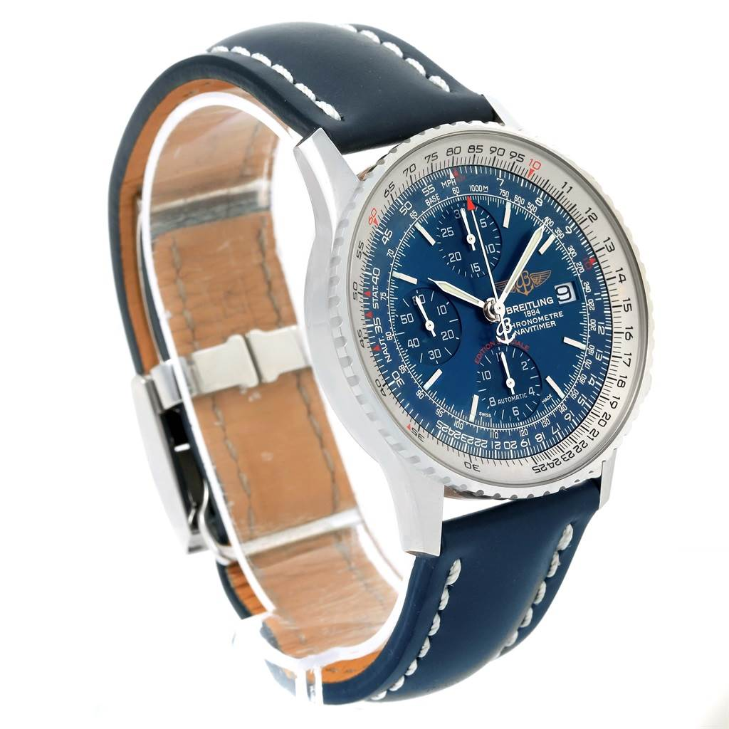 15459 Breitling Navitimer Heritage Steel Blue Dial Mens Watch A13324 Box Card  SwissWatchExpo