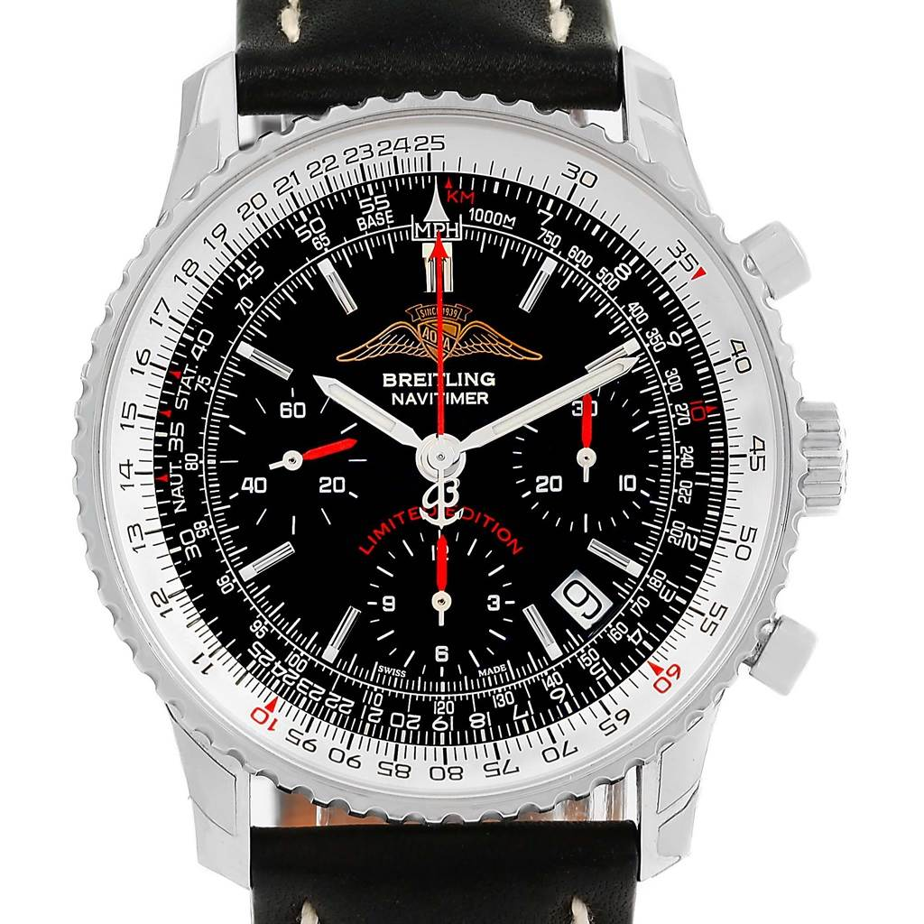 15509 Breitling Navitimer AOPA Limited Edition Black Dial Watch A23322 Unworn SwissWatchExpo
