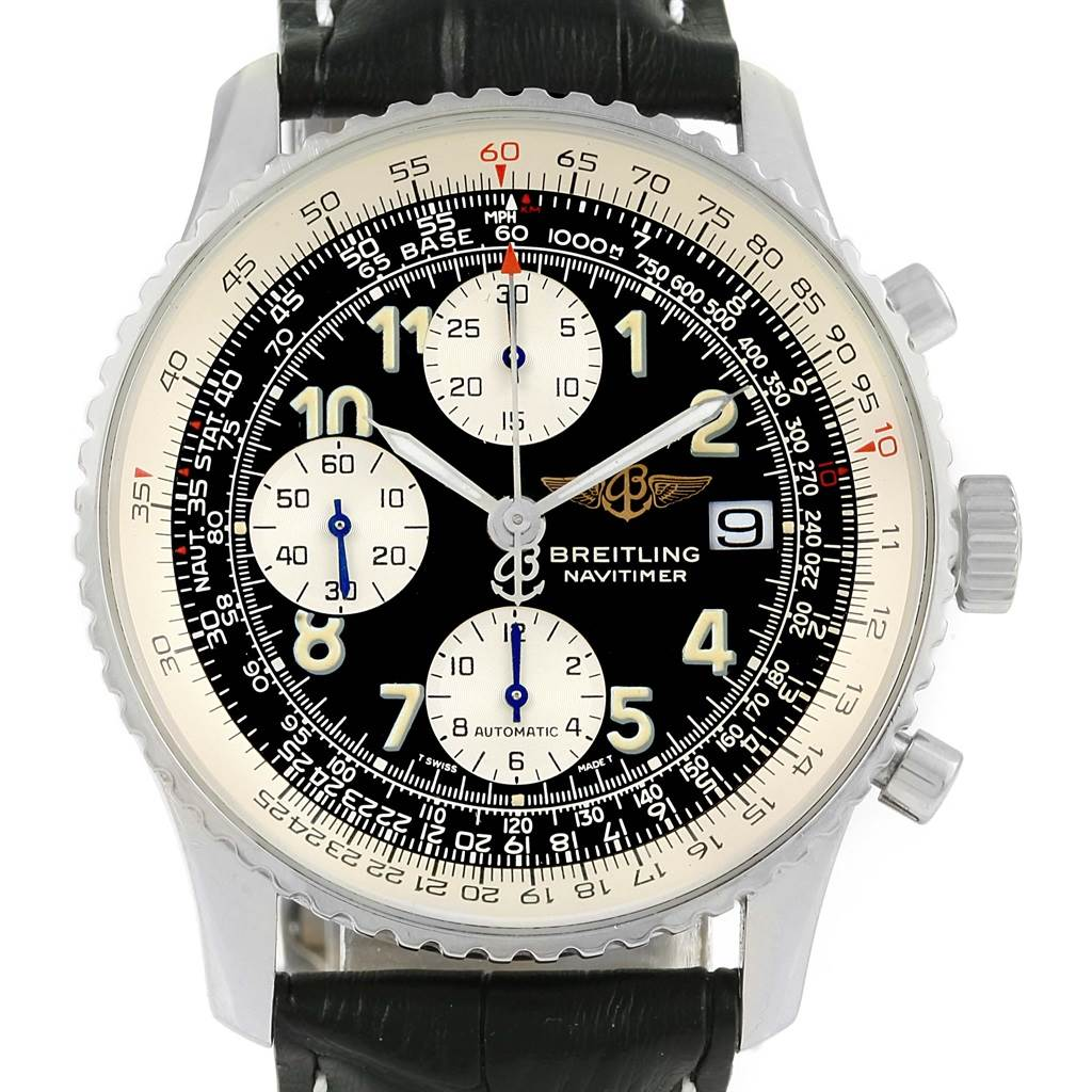 Breitling Navitimer II Black Dial Leather Strap Steel Mens Watch A13022 SwissWatchExpo