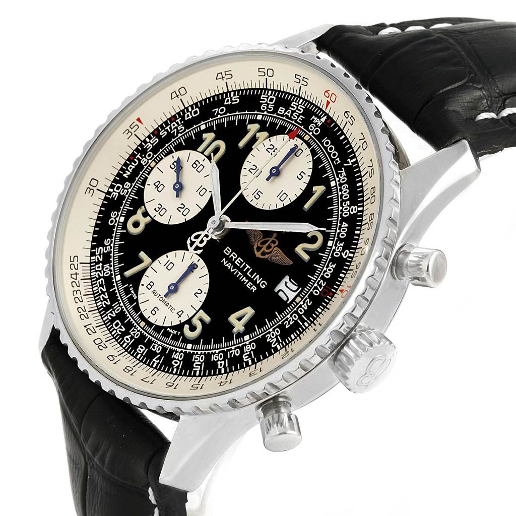 15495 Breitling Navitimer II Black Dial Leather Strap Steel Mens Watch A13022 SwissWatchExpo