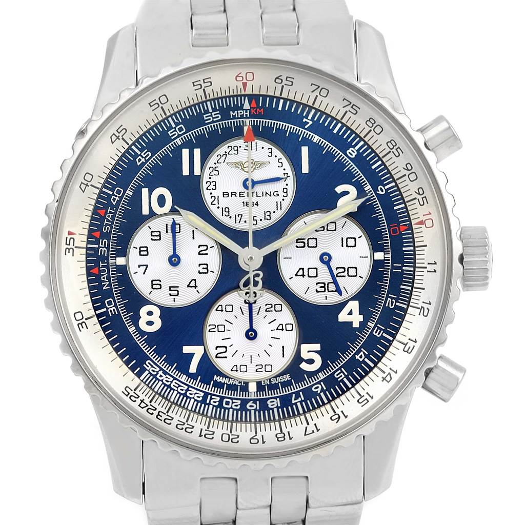 15854 Breitling Navitimer Airborne Blue Dial Mens Watch A33030 Box Papers SwissWatchExpo