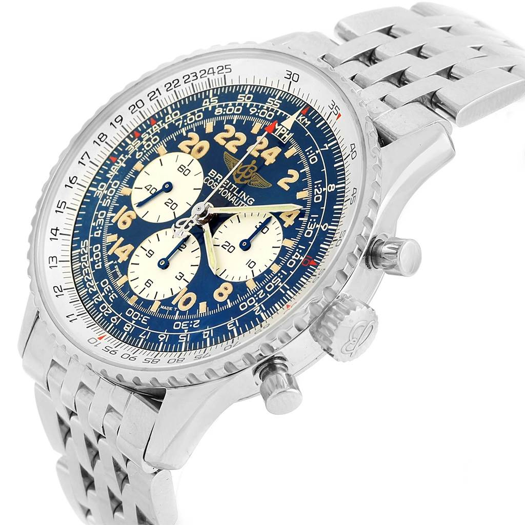 15871 Breitling Navitimer Cosmonaute Blue Dial Chronograph Watch A12022 SwissWatchExpo