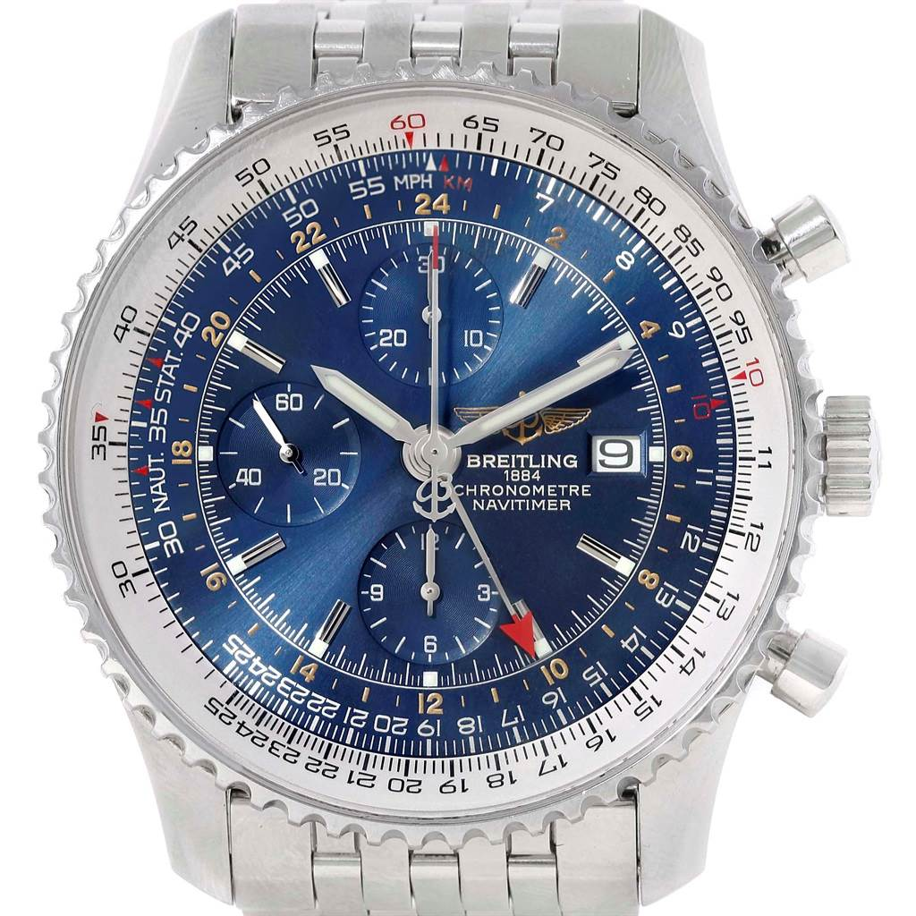 16018 Breitling Navitimer World Blue Dial Steel Mens Watch A24322 SwissWatchExpo