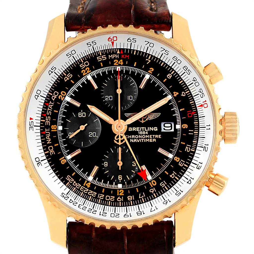 16095P Breitling Navitimer World 18K Rose Gold Black Dial LE Watch H24322 SwissWatchExpo