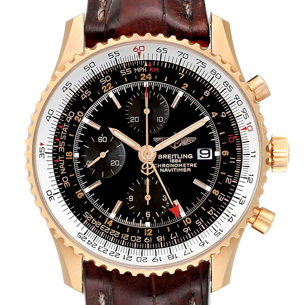 Breitling Navitimer World Rose Gold Black Dial Limited Edition Watch H24322 SwissWatchExpo