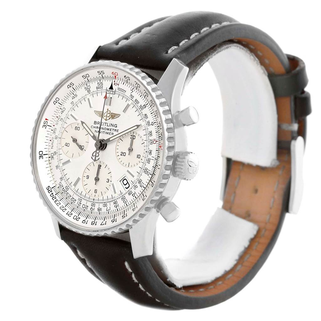 16008A Breitling Navitimer Chronograph Silver Dial Black Strap Watch A23322 SwissWatchExpo