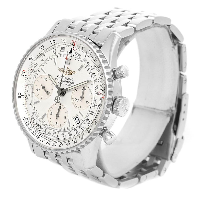 Breitling Navitimer Chrono Silver Dial Steel Bracelet Watch A23322 SwissWatchExpo